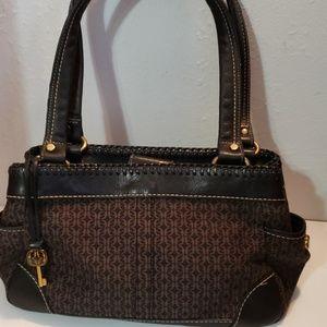 Fossil Black Braided Leather and Canvas Handbag